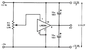 LM380 split power supply circuit diagram electronic project