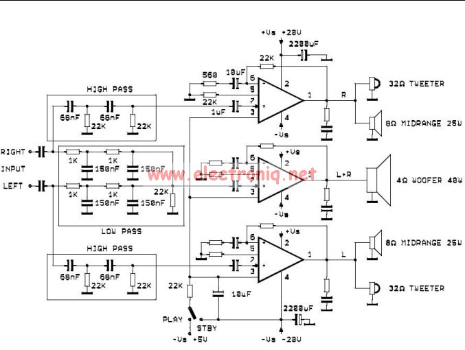 dual subwoofer wiring diagram 3 pin molex tda2052 active audio system circuit electronic project