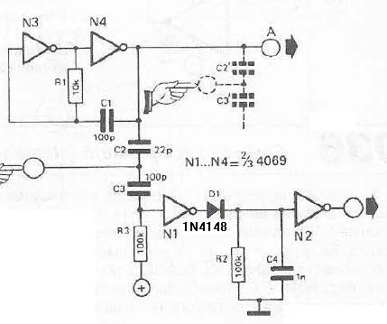 Touch sensor switch using inverters