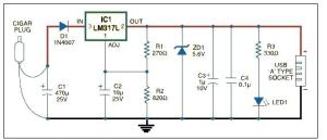 USB car charger adapter circuit design using LM317