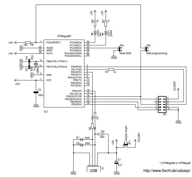 USBasp programmer circuit for Atmel AVR controllers