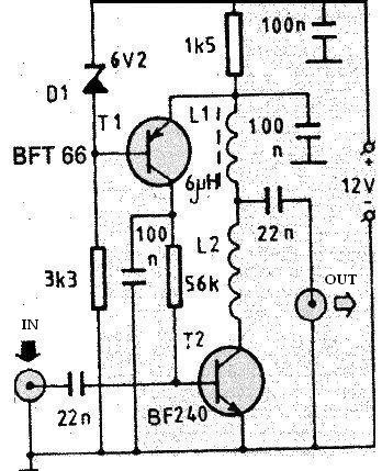 VHF antenna amplifier circuit electronic project design