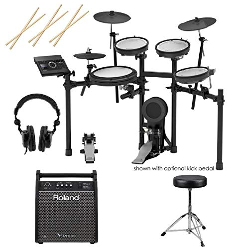 Roland TD-25KV V-Drums 10-Piece Electronic Drum Kit with Drum Module includes Free Wireless Earbuds Stereo Bluetooth In-ear and 1 Year Everything Music Extended Warranty
