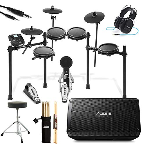Vic Firth American Classic 5A Drum Sticks Drum Throne Drummer Isolation Headphones Carlsbro CSD130 9-Piece Compact Electronic Drum Kit