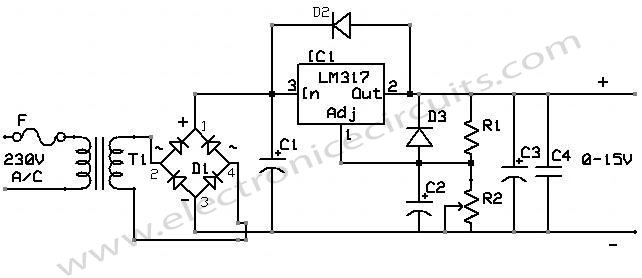 lm 317 power supply electronic circuits