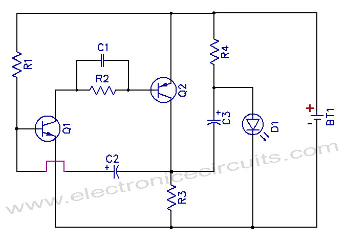 led light circuit diagram for dummies joints of the foot 1 5v one battery flasher electronic circuits schematic