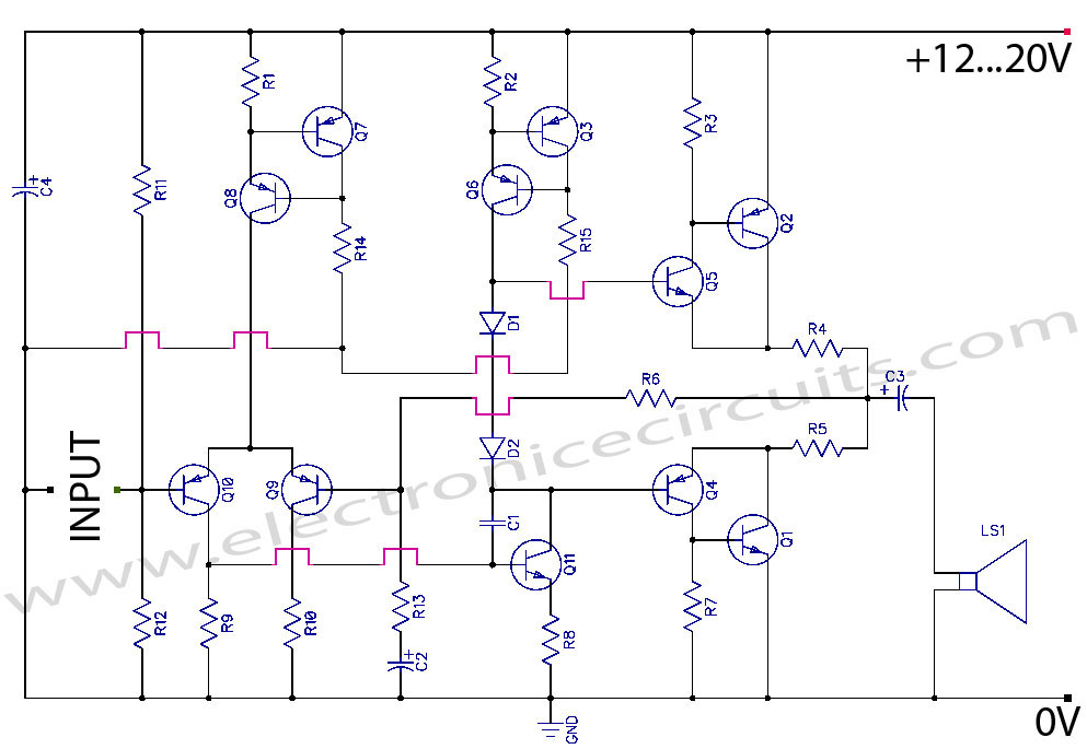 transistor wiring diagram heater symbol class ab power amplifier circuit electronic schematic