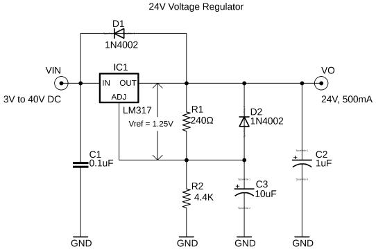 lm317 regulator, lm317 24v regulated power supply circuit diagram