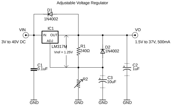 lm317 regulator, lm317 adjustable variable voltage regulator circuit diagram