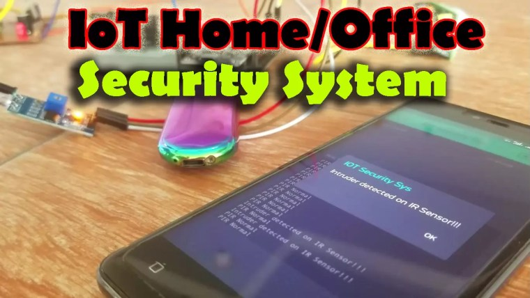 IOT Security System, In this project the IR sensor and PIR Sensors are interfaced with the Nodemcu ESP8266. Home or office security.
