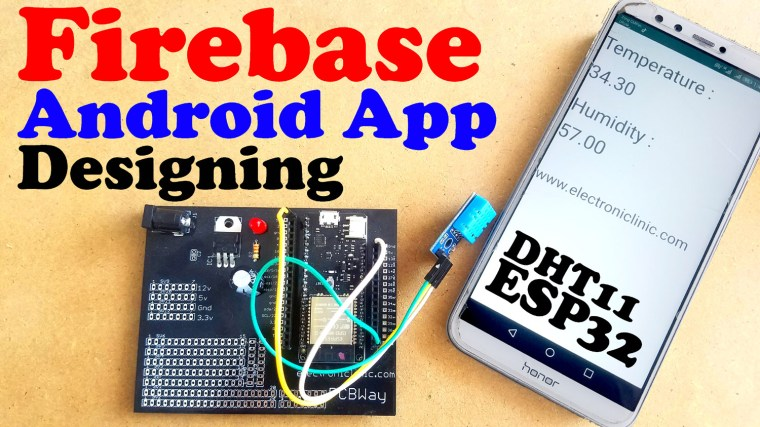 Firebase Android Application, cell phone application designed in Android studio for the ESP32 to display the temperature and humidity values