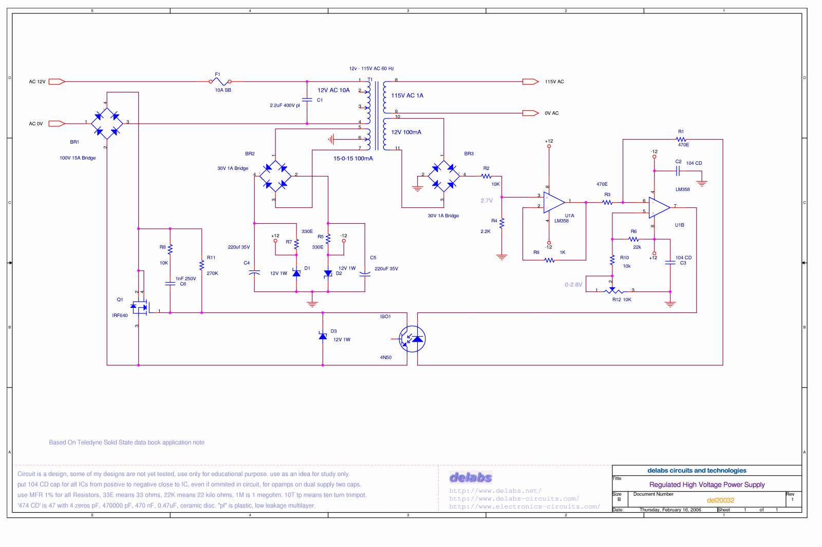 dc regulated power supply circuit diagram starcraft bus wiring high voltage del20032