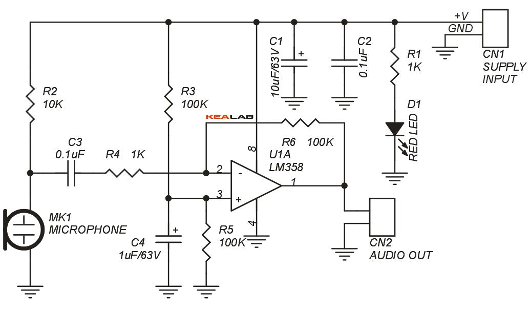 low noise microphone amplifier circuit