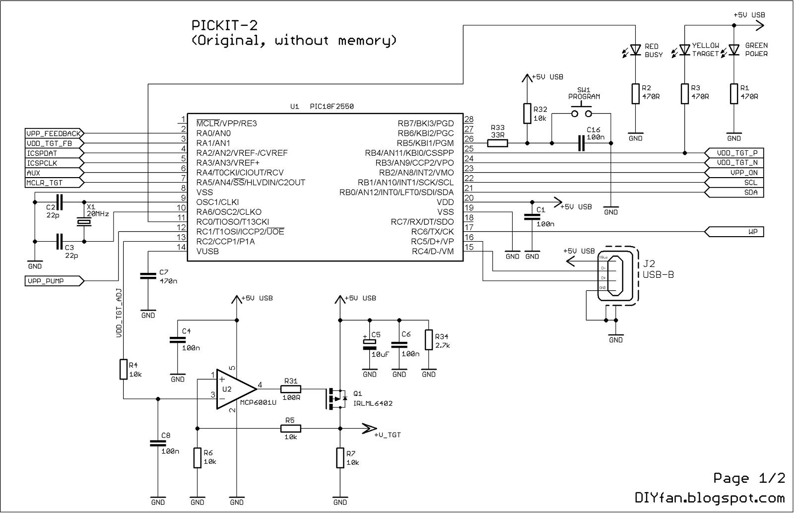 hight resolution of original pickit 2 microcontroller programmer electronics lab pickit 2 circuit diagram