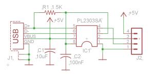 USB to Serial converter using PL2303SA  ElectronicsLab