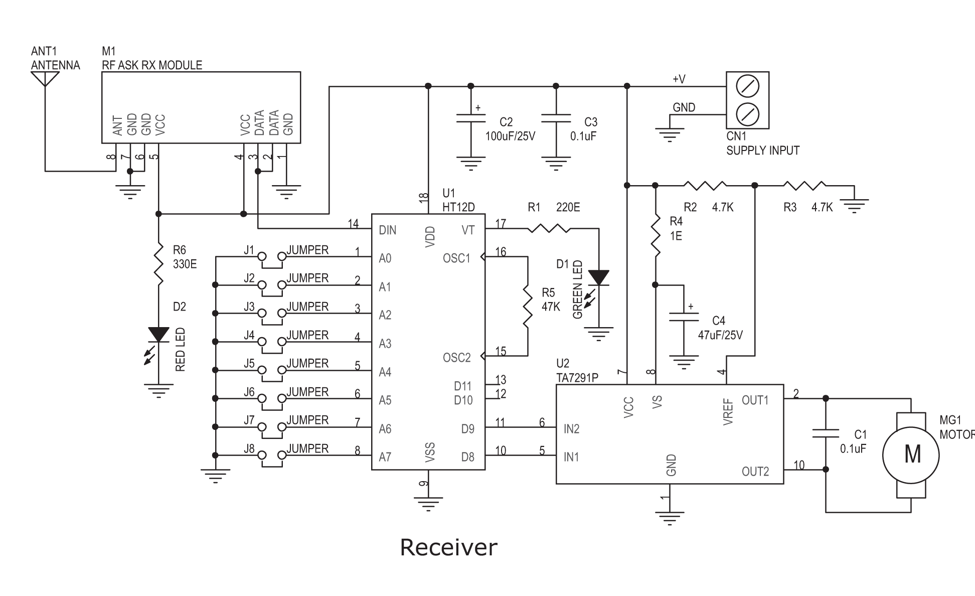rf tx and rx circuit diagram wiring for three way light switch remote dc motor direction controller electronics lab