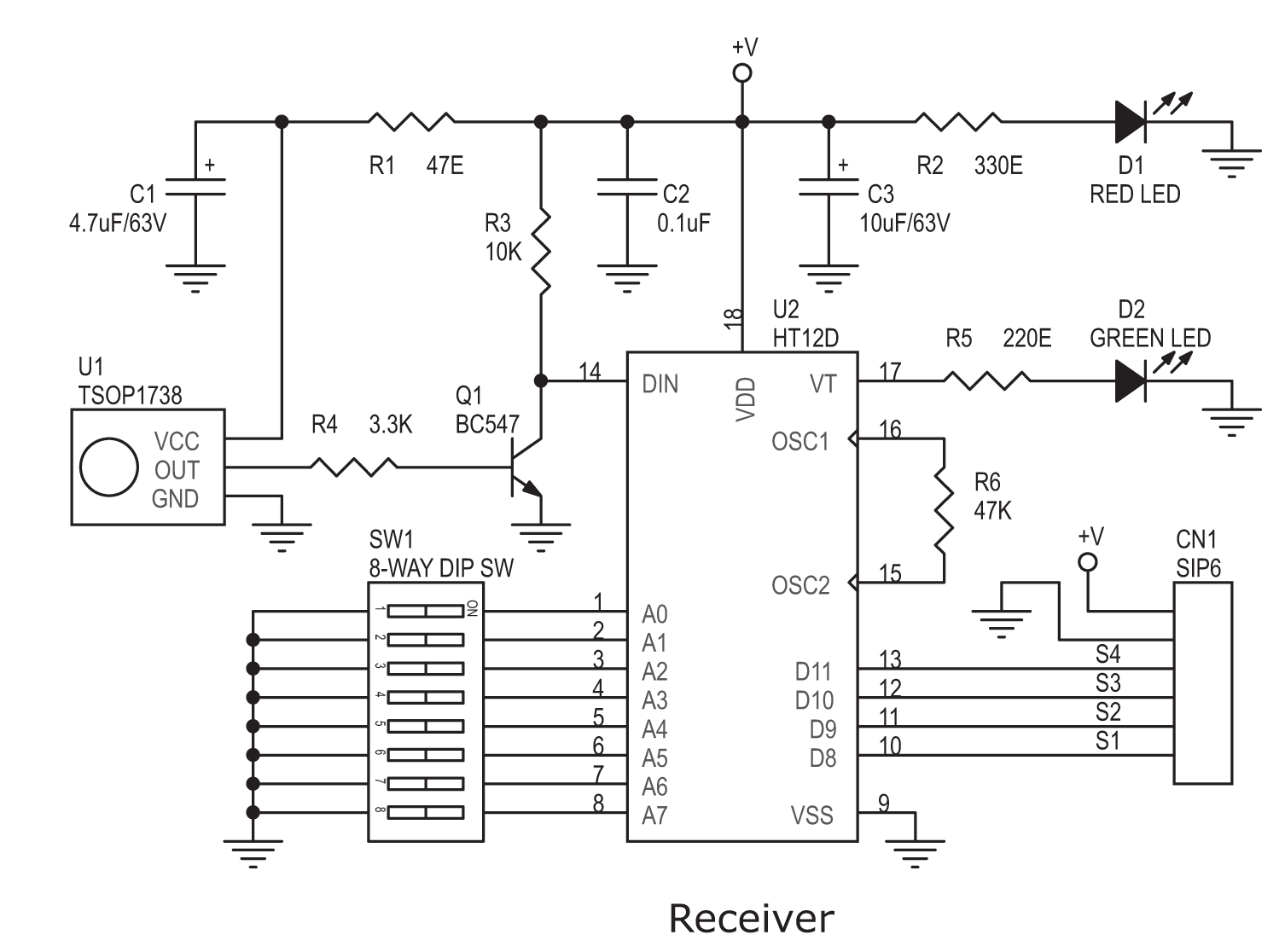 rf tx and rx circuit diagram process template word 4 channel infrared remote module electronics lab