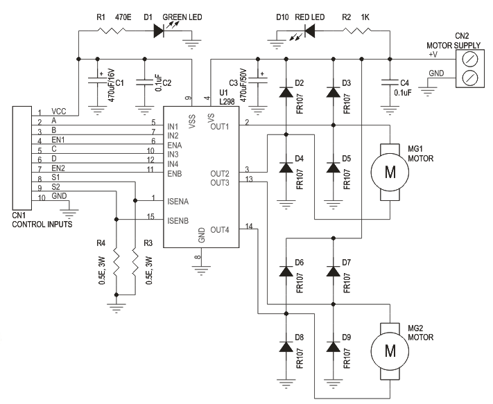 l298 h bridge circuit diagram energy band of insulator dual motor control electronics lab schematic