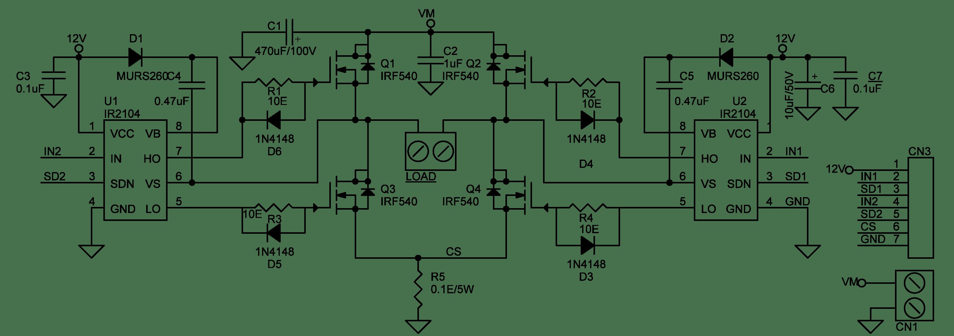 l298 h bridge circuit diagram hogtunes amp wiring dc motor ir2104 electronics lab