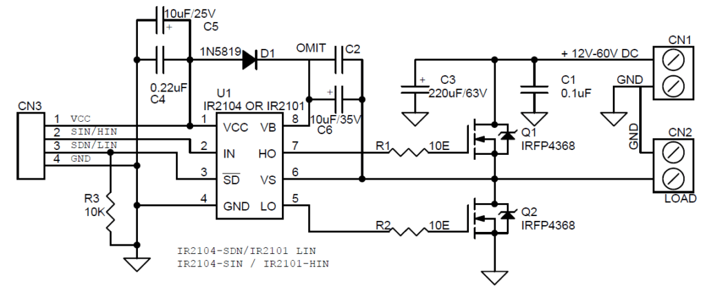 High Current Discrete Half-Bridge Based on IR2104 or