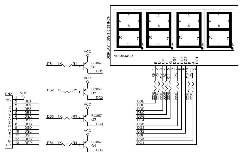 4 Digit MultiPlexed 0.33 Inch 7 Segment Common Anode
