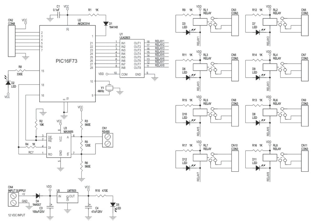 medium resolution of 8 channel rs485 driven relay board schematic