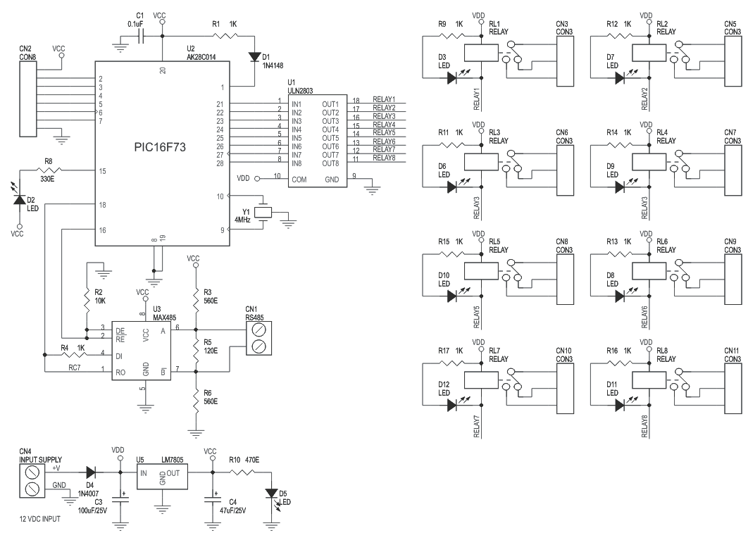 hight resolution of 8 channel rs485 driven relay board schematic
