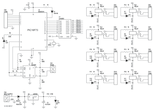 small resolution of 8 channel rs485 driven relay board schematic