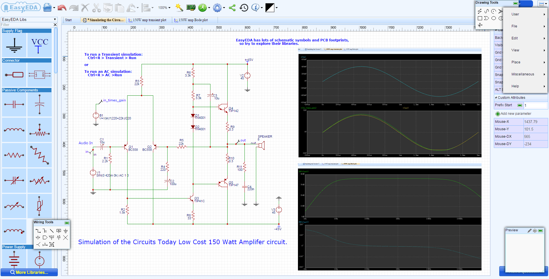 hight resolution of easyeda online circuit simulator