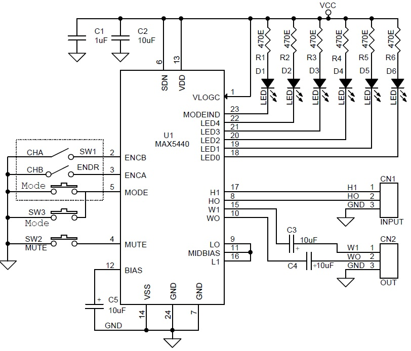 Stereo volume and balance control with Rotary Encoder