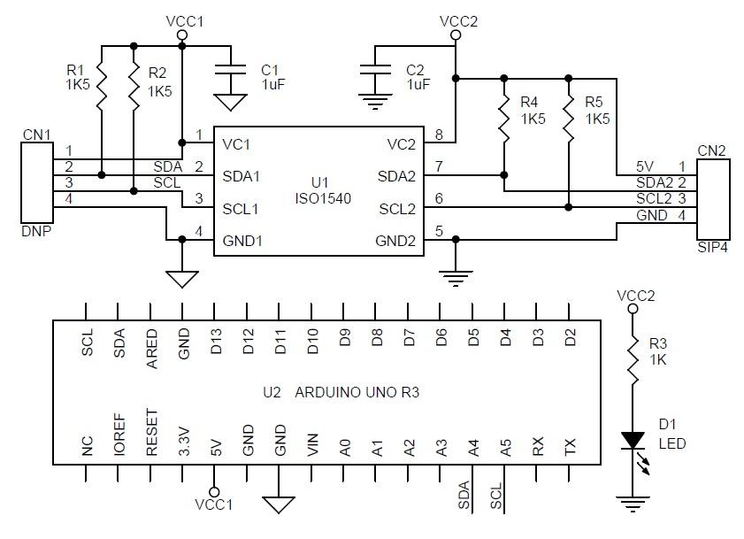 Optically isolated bidirectional I2C shield for Arduino