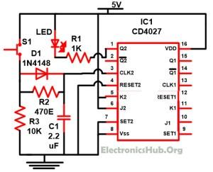 Understanding of JK Flip Flop using CD4027 Circuit