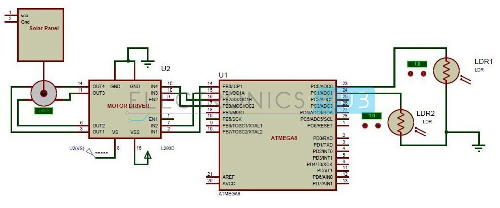 solar panel charge controller circuit diagram bmw mini r56 wiring sun tracking project using microcontroller