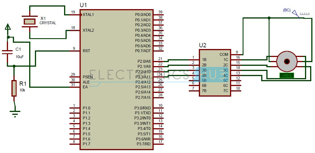 4 wire dc motor connection diagram 3ph wiring stepper interfacing with 8051 microcontroller circuit of control using at89c51