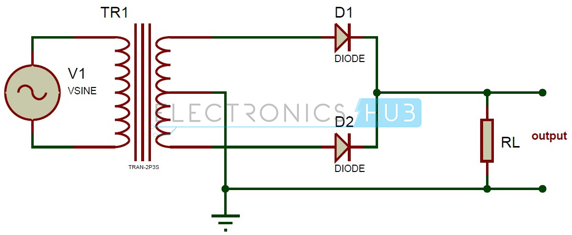 Full Wave Rectifier Theory Circuit Working And Ripple Factor