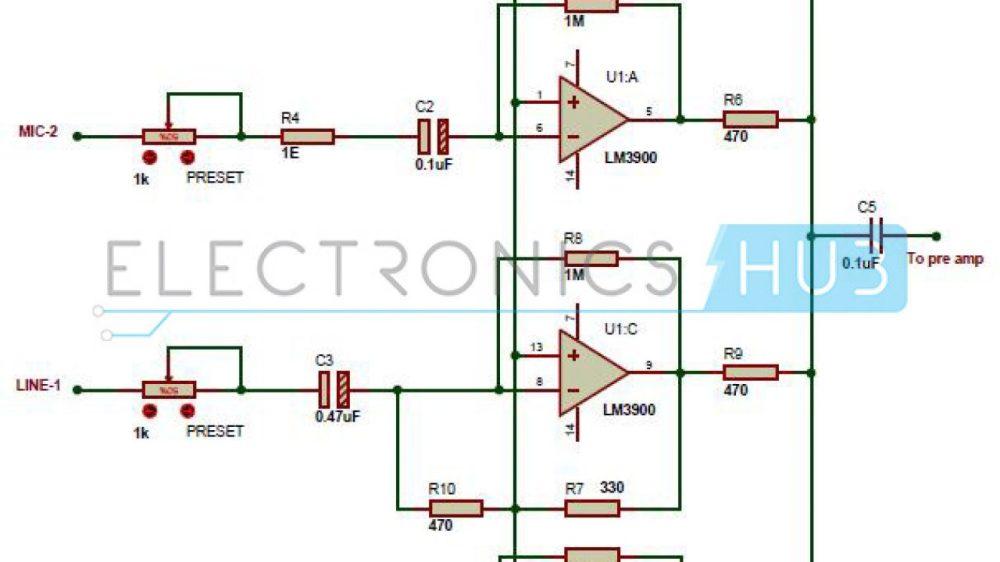 medium resolution of multi channel audio mixer circuit using lm3900 channel audio mixer circuit audio amplifier schematic circuits