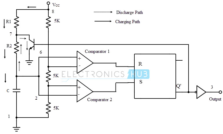 555 ic internal diagram while discharging