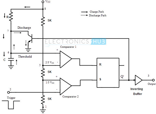 monostable multivibrator using 555 timer
