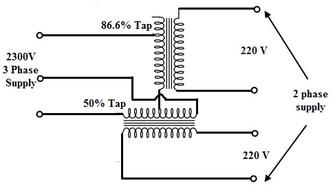 2 phase transformer wiring diagram how to read diagrams car three scott connection