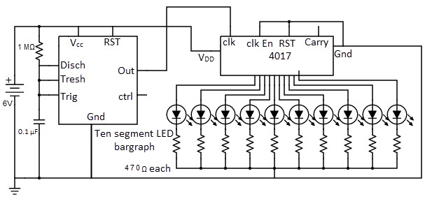 christmas lights sequencer circuit with 4017 decade counter