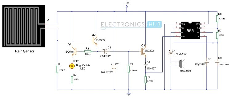 circuit diagram rain detector the serendipity project
