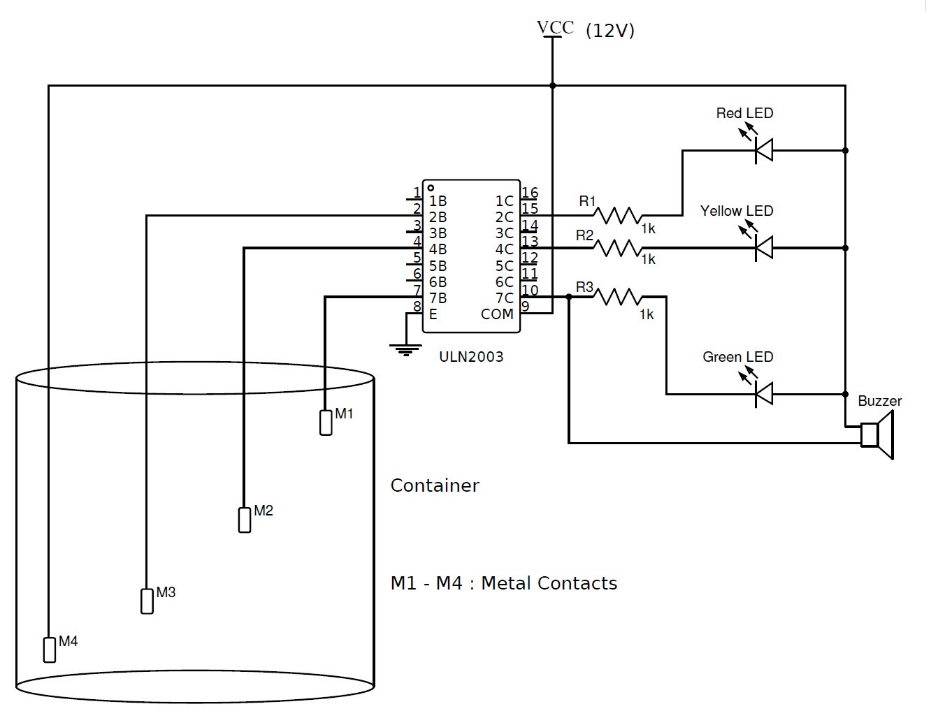 liquid level controller circuit diagram ford f 150 fuse box simple water indicator with alarm 3 tested circuits