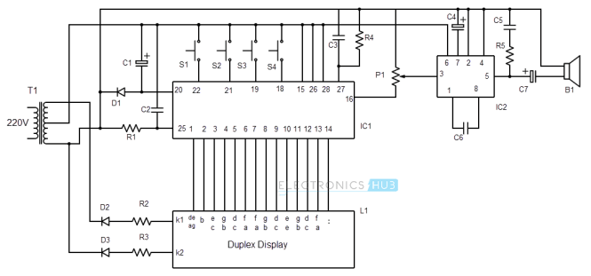 digital alarm clock circuit diagram