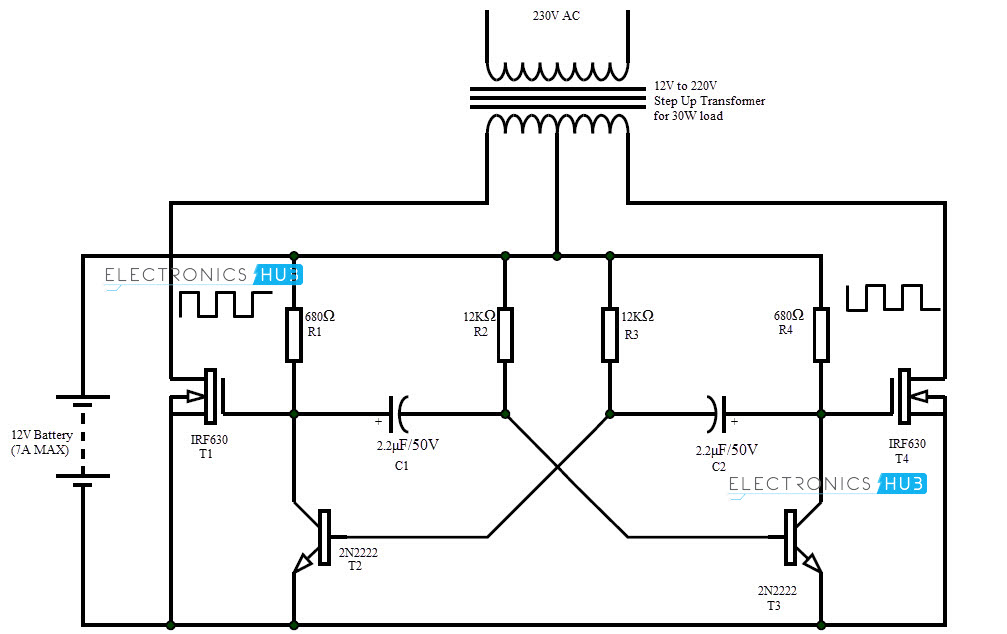 12v DC to 220v AC Converter Circuit Design, Working and