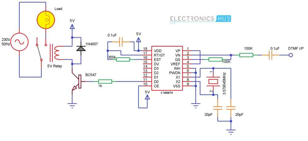 medium resolution of mobile controlled home appliances without microcontroller cellphone controlled home appliances circuit diagram without microcontroller