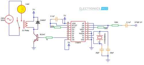 small resolution of mobile controlled home appliances without microcontroller cellphone controlled home appliances circuit diagram without microcontroller