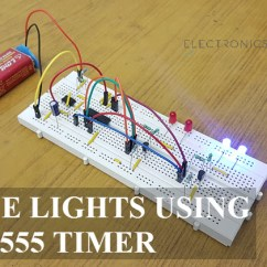 Electronics Mini Projects With Circuit Diagram Autometer Sport Comp Tach Wiring Police Lights Using 555 Timer And 4017 Decade Counter