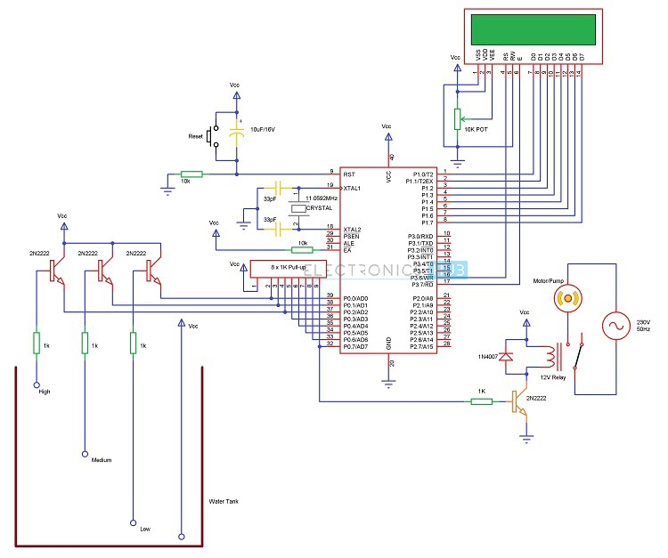 11 Pin Cube Relay Wiring Diagram Water Level Controller And Indicator Using 8051
