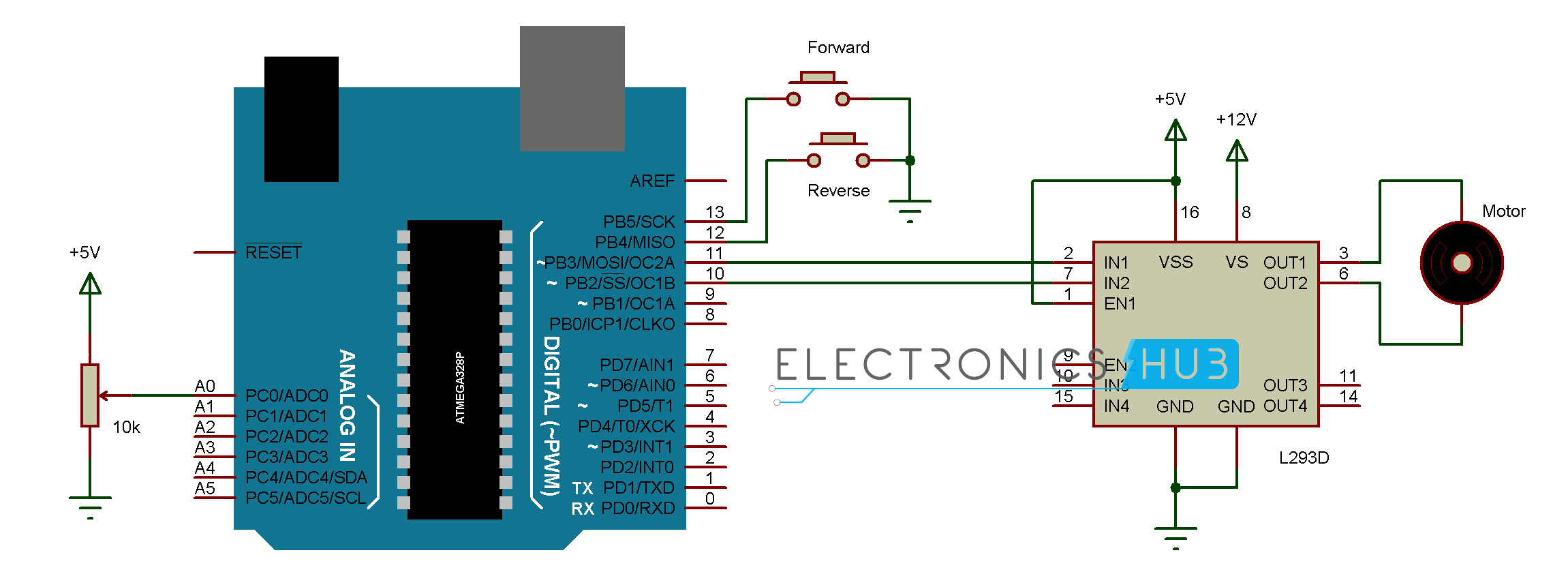 Arduino Stepper Motor Control Button Circuit Diagram