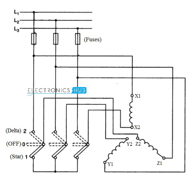 three phase motor star delta wiring diagram simple of circulatory system starter for 3 manual